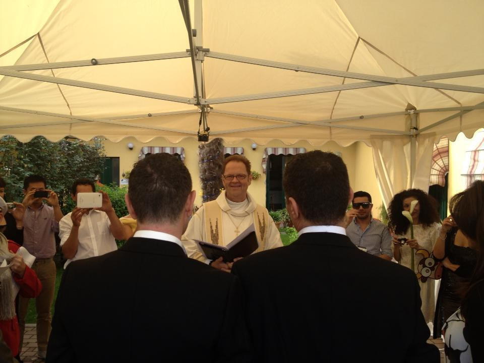 Rev. Dr. Jim Merritt performs same-gender wedding near Milan, Italy - May 5