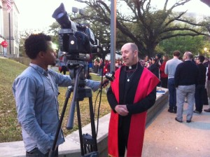 Rev. Keith Mozingo, Pastor speaks to local TV at MCC Baton Rouge Marriage Equality Rally