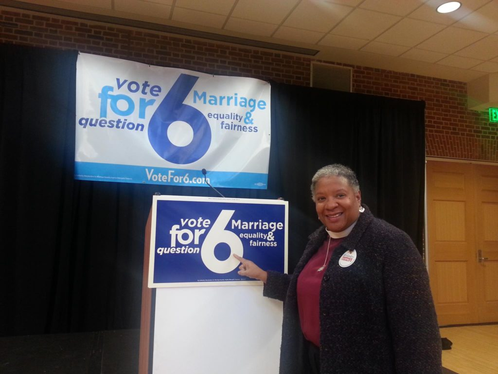 MCC's Rev. Candy Holmes - on the campaign trail for Marriage Equality in Maryland.