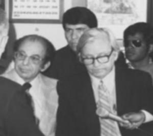 (L-R) LA Attorney Al Gordon, Rev. Troy Perry, Morris Kight, Steve Jordan. Gordon, a straight ally, filed the 1970 Heckman-Bellew marriage lawsuit; he often represented the LGBT community, usually pro bono.