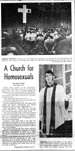 When this Dec. 8, 1969 LA Times front page article appeared, same-sex  weddings  were  already  an established  practice  at  Perry's MCC church.
