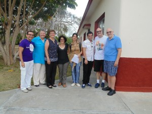 From left to right: Rev. Hector, Mary E Hunt, Rev. Mona West, Yileivys Cruz, Elaine Saralegui, Adiel Maimó, Phillip and Rev. Troy