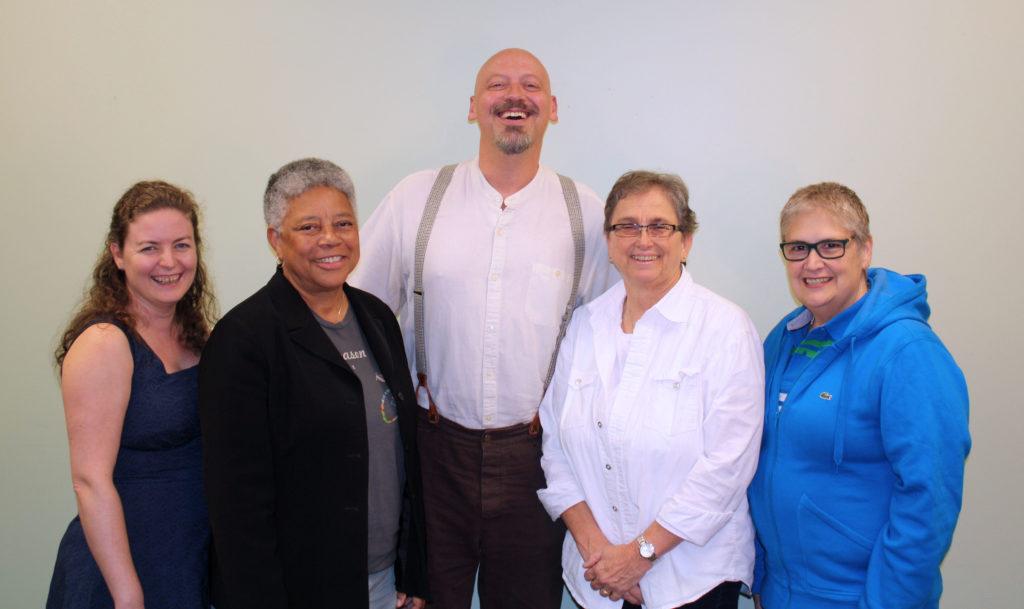 From left: Sarah-Jane Ramage, Vice Chair; Rev. Onetta Brooks, Secretary; Rev. Clinton Crawshaw, Rev. Dr. Nancy Wilson, Moderator; Raquel Benítez-Rojas. (photo by L. Brenner)