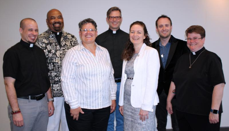 MCC Governing Board. From left: Rev. Jakob Hero, Rev. Dr. William Hubbard Knight, Kimberly Brown, Rev. Joe Cobb, Sarah-Jane Ramage, Dr. Mark Dalgleish, Rev. Dr. Stephanie Burns. Not pictured: Angel Collie. (photo by Linda Brenner)