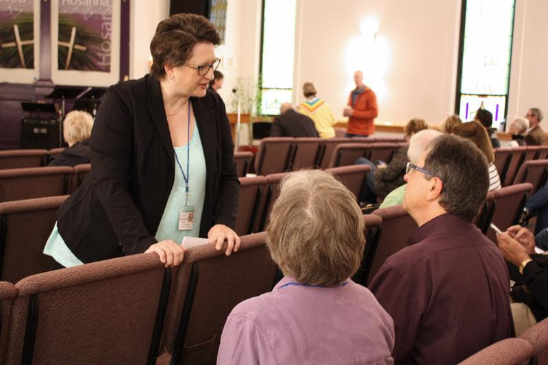 Rev. Elder Rachelle Brown visits with people attending the Mountains and Plains Network Gathering - Moderator's Circle Jun 2017: Celebrating MCC Churches